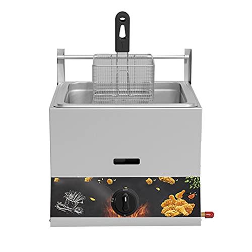 HOME UK Friteuse à gaz Friteuse Commerciale Friteuse Commerciale en Acier INOX ave Couvercle Anti-éclaboussures et églable en température pour Frire des Aliments Cuisiner