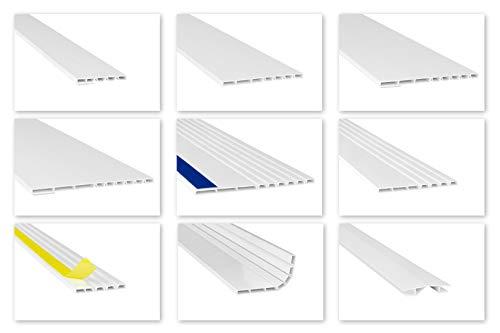 HEXIM Fenster/PVC Deckleisten & Verbindungen - flexible Hohlkammerprofile, wahlweise mit Schaumklebeband (selbstklebend) - 2 Meter je Leiste (50x5mm, HJ 1001-SKS)