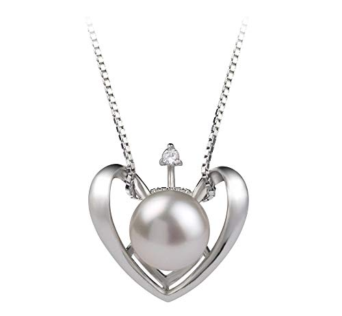 17 Sterling Silver 6-7MM White Button Freshwater Cultured Pearl CZ Cross Necklace