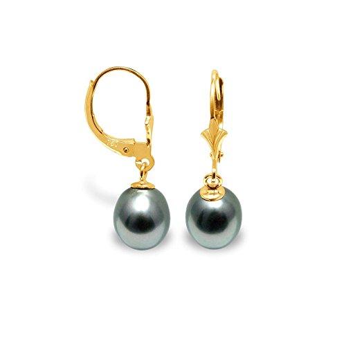 Ohrringe Schwarze Tahitiperle und Gelbgold 375/1000 - Blue Pearls - BPS K335 W