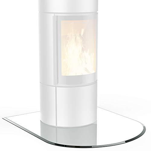 bijon® Funkenschutz-Platte inkl. Silikon-Dichtlippe | Glasplatte Kaminofen mit Facettenschliff | Kaminschutz mit ESG Sicherheitsglas | mit Dichtlippe | 110 x 100 cm | 8mm