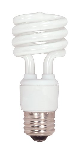 Satco S7217 13-Watt Medium Base T2 Mini Spiral, 2700K, 120V, Equivalent to 60-Watt Incandescent Lamp for Enclosed Fixtures