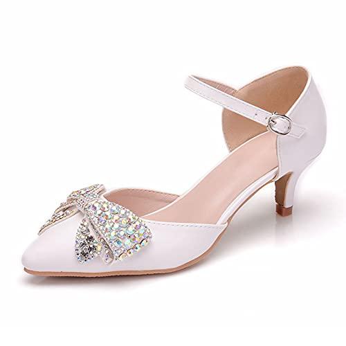 Zapatos De Novia Para Mujer,Sandalias Puntiagudas,Asakuchi Nudo De Proa Diamante De Imitación...