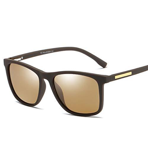 MIMIOOORE Gafas de Sol polarizadas UV400 Protección de conducción Ciclismo Pesca Correr los Hombres de Golf Duradero Marco Completo de TR90 (Color : Brown)