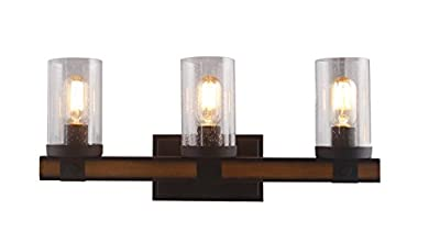 3 Light Barrington Distressed Black and Wood Bathroom Vanity Light Wall sconces Wall Lamp Bathroom Bubble Seeded Glass Rustic Industrial Sytle