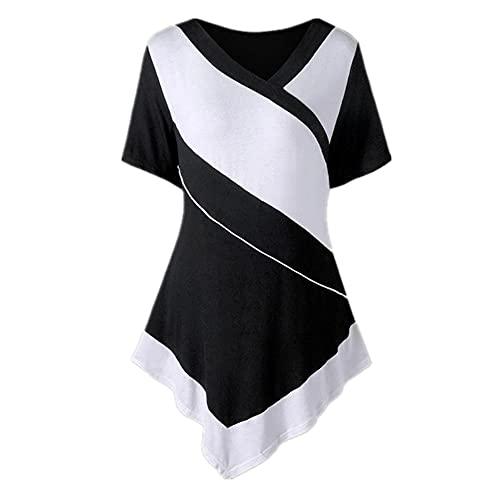 Camiseta Mujer Elegante Cuello En V Manga Corta Ajustados Tops Mujer Empalme Dobladillo Irregular Blusa Moda Mujer Suave Cómodo Tops Mujer A-Black 4XL