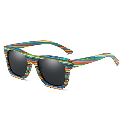 YuanRuiWMS Gafas de sol de madera hechas a mano, gafas de sol polariza