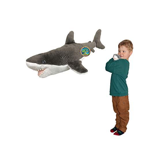 EcoBuddiez - Gran Tiburón Blanco de Deluxebase. Peluche pequeño de 31 cm elaborado con Botellas de plástico recicladas. Lindo Peluche ecológico con Forma de animalito para niños pequeños.