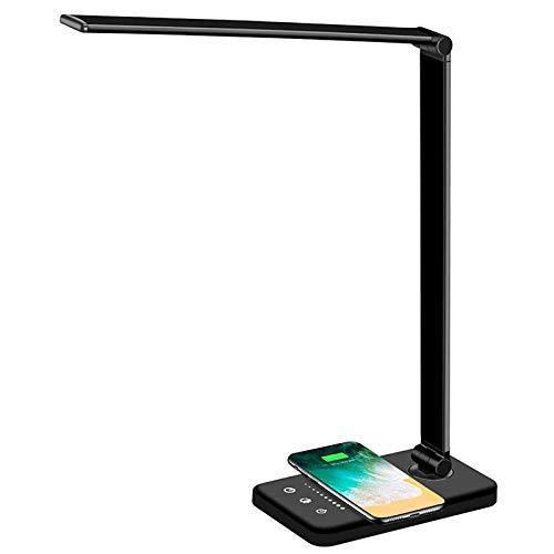 XVZ LED Schreibtischlampe,mit USB-Anschluss Wireless-Ladegerät,3 FarbmodiTischlampen für Schlafzimmerstudien Touch Control Dimmbares Nachttisch Bürolampen Helligkeit Einstellbares Timing-schwarz
