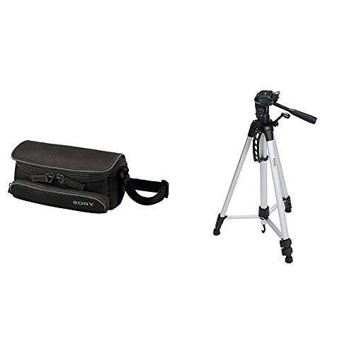 Sony LCSU5 Tasche für Handycam schwarz & Amazon Basics Leichtes Stativ, bis 1,52 m, inkl. Tasche, mit 3-Wege-Schwenkkopf und Wasserwaage