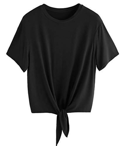 Romwe Women's Short Sleeve Tie Front Knot Casual Loose Fit Tee T-Shirt Black M