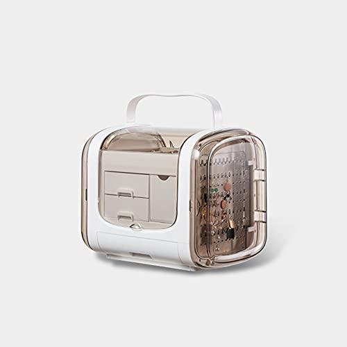 NGLSCXR Caja de joyería, Caja de Almacenamiento de joyería Transparente, con Bloqueo Separador extraíble, Anillos Pendientes Collar Pulseras Joyas Caja de Regalo, para niñas Mujeres (Color : Blanco)