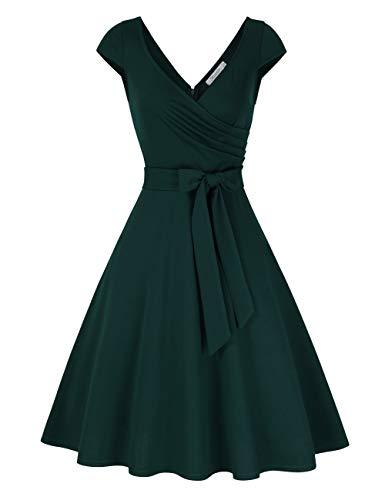 KOJOOIN Damen Vintage 50er V-Ausschnitt Abendkleid Rockabilly Retro Kleider Hepburn Stil Cocktailkleid Dunkelgrün 【EU 38-40】/M