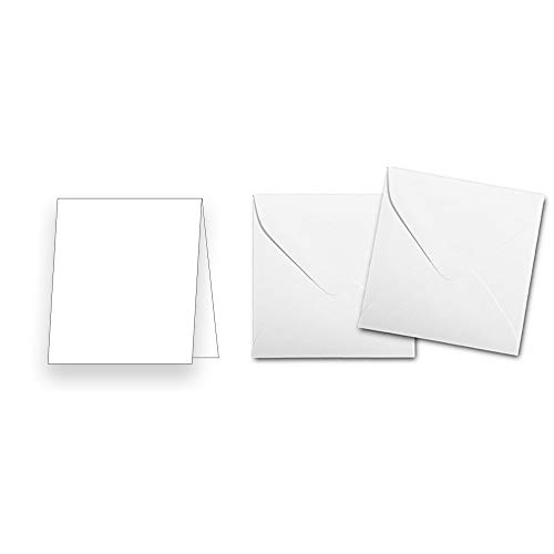 Premium 3' x 3' White Folded Card & Envelope Set - 50 Pack - Blank Folded Cards and White Envelopes - Great for Floral Cards, Small Thank You's, DIY Small Cards, and More!