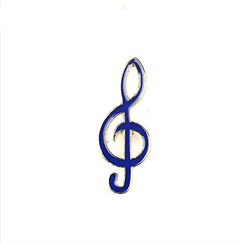 Rinclhu - Broche de notas musicales para mujer, pin de botón para ropa, collar, chaqueta, accesorio para manualidades, color azul