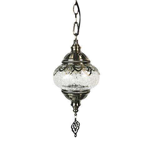 GDLight Marroquí turca lámpara Colgante de 5 Pulgadas de Hierro Que cuelgan de Sombra de Las Luces de la Vendimia Blanca de Cristal del Mosaico de Luces Pendientes Pasillo Dormitorio Balcón Ca
