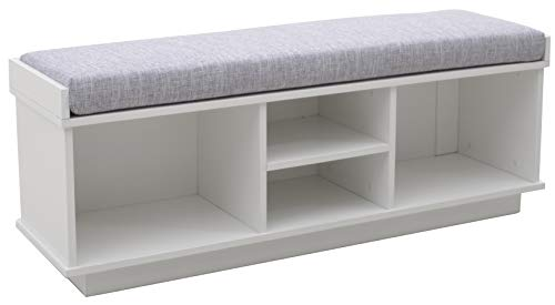 Amazon Brand – Ravenna Home Upholstered Entryway Cushioned Storage Bench - 47 1/4-Inch, White