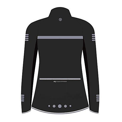 Proviz Classic Hi Viz Reflective Women's Softshell Cycling Jacket Hi Visibility Cycle Bike Coat, Black, 14