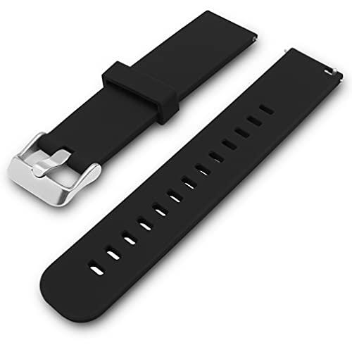 Adallor® Smartwatch Armband Wechselarmband für Herren Damen, Quick Release Uhrenarmband, Ersatzarmband, Silikon Uhrenarmbänder, Uhrband Bracelet Strap für Herrenuhr, 22mm, 20mm, 18mm (20mm, schwarz)