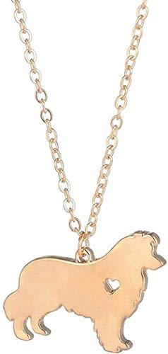 AOAOTOTQ Co.,ltd Collar de Recuerdo de Color Lindo Collar de Border Collie joyería Popular Gargantilla Collares Amantes de los Perros Amigos para Mujeres Hombres Regalo