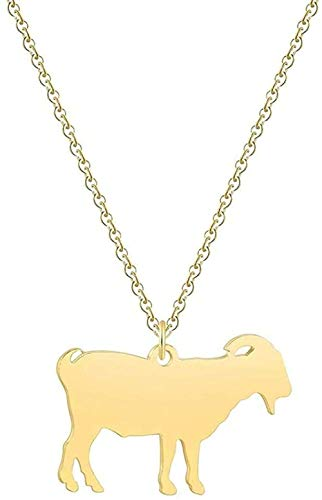 Zaaqio Collar sin Aless, Collar Wen, Collar con Colgante de Animales de Granja de Cabra de Oro Rosa para Hombre, Accesorios de Cadena Larga, Regalo de joyería