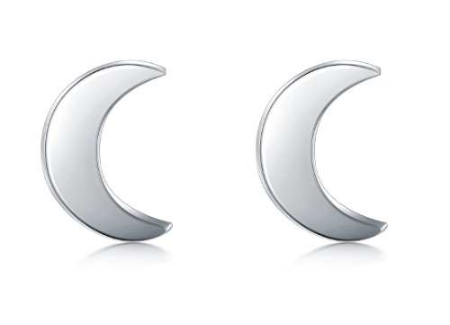 925 Sterling Silver Stud Earrings, BoRuo Crescent Moon High Polish Tarnish Resistant Earrings