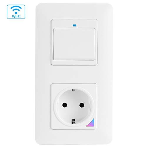 TEEKAR WLAN Alexa Lichtschalter mit WiFi Smart Steckdose Unterputz, Physische Taste Schalter Kompatibel mit Alexa, Google Home und Smart-Life, Timing-Funktion Und APP Fernbedienung, Magnetic Rahmen