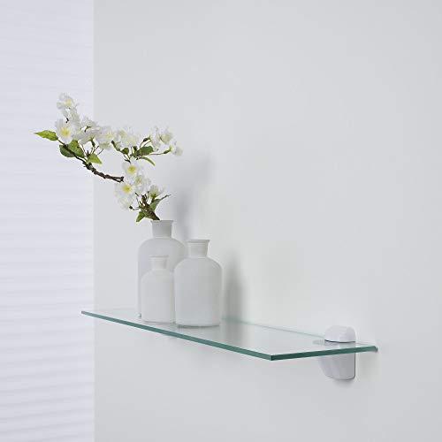 Duraline Glazen rek, plankenset, badkamerrek, boekenplank, glazen bodem helder | 60 x 15 cm x 6 mm | incl. drager clip