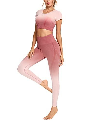 Sykooria Damen Sportanzug Jogginganzug Sport BH und Hose Set 2 Stück Sport Bekleidungssets Bauchkontrolle Yoga Outfit hohe Taille Freizeitanzug Nahtloses Sportswear Trainingsanzug Rosa S
