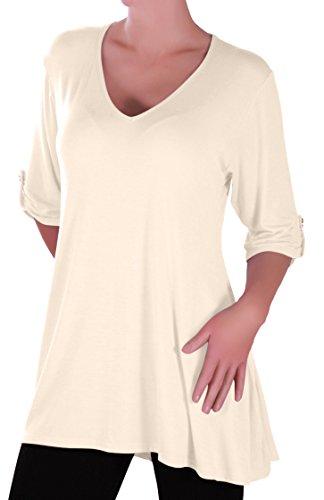 EyeCatch Plus - Shellie Damen V-Ausschnitt Tunika Übergröße Frauen Ausgestelltes Langes Top Cream Gr. 42