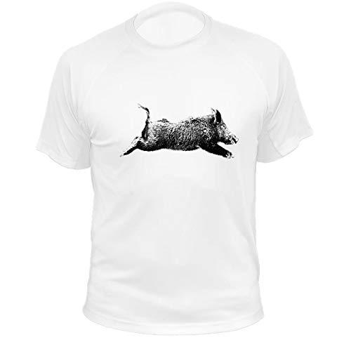 Jagd T Shirt Jagd Geschenke Wildschwein (305, weiß, XL)