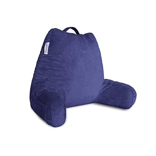 EAGLE PEAK Medium Shredded Memory Foam Reading Pillow Bed Rest Pillow with Arms and Pockets Removable Cover Back Support Cushion for Adults Teens While Reading Watching TV Relaxing Navy Blue