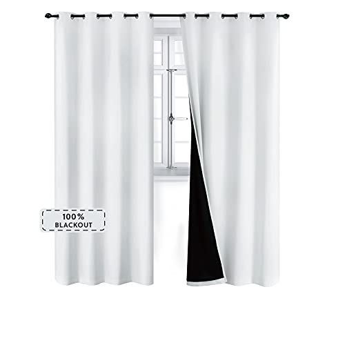 Bedsure 100% Blackout Curtains 84 inches - Full Room Darkening Curtains for Bedroom 2 Panels - Soundproof and Thermal Insulated Drapes ( White, 52×84 )