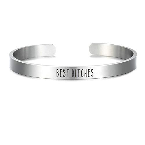Daesar Edelstahl Armband Damen Breit 8 MM Best Bitches Frauen Armreif Uhr Silber Partnerarmband