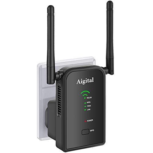 Ripetitore Wi-Fi dalla Grande Portata, WiFi Extender e Access Point,300Mbps Ripetitore Segnale WiFi Casa con Porta LAN, 2 Antenne, WPS, modalità Repeater Router AP Compatibile con Modem Fibra e ADSL