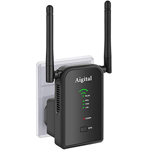 Aigital 300Mbps Repetidor WiFi Enrutador Inalámbrico WiFi (Ethernet RJ45) Extensor de Red WiFi Punto Acceso para Mejorar La Señal Inalámbrica,Wireless-N 2.4GHz Universal EU Enchufe (WPS)
