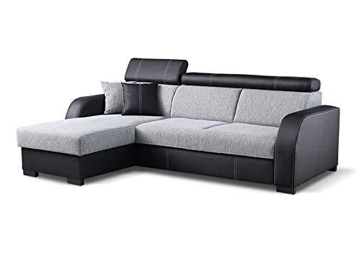 Couch mit Schlaffunktion Eckcouch Ecksofa Polstergarnitur Wohnlandschaft - COBBY (Ecksofa Links, Schwarz)
