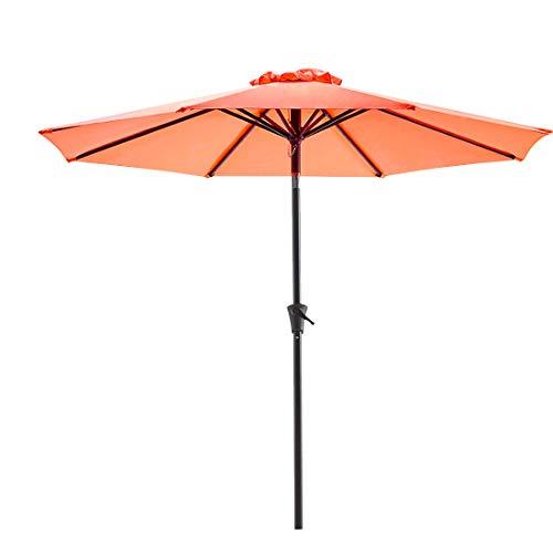 Bluu Patio Umbrella 9 Ft Outdoor Table Market Umbrellas With Push Button Tilt and Crank, 8 Ribs(Orange)