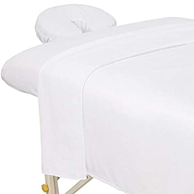 ForPro Premium Microfiber 3-Piece Massage Sheet Set, White, Ultra-Light, Stain and Wrinkle-Resistant, Includes Massage Flat Sheet, Massage Fitted Sheet, and Massage Face Rest Cover