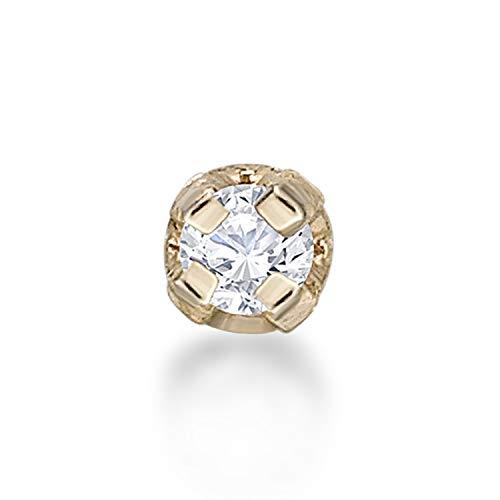 Lavari - Piercing para la nariz de oro de 14 quilates de 1,3 mm y diamante auténtico de 0,01 quilates, calibre 22