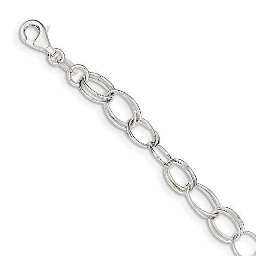Pulsera de plata de ley 925 pulida con cierre de langosta para mujer, 20 cm
