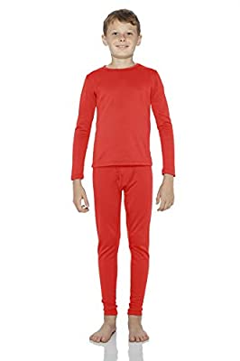Rocky Thermal Underwear for Boys Fleece Lined Thermals Kids Base Layer Long John Set (Red - Medium)