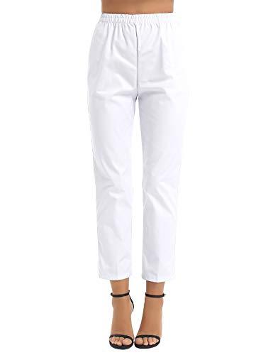 Kaerm Damen Schwesternhose Schlupfhose aus Baumwolle Medizinische Uniform Pflegerhose Bequeme Medi Hose Weiß XL