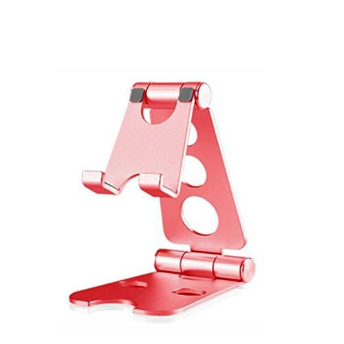 Kesio Soporte de teléfono totalmente plegable para escritorio, doble soporte de aluminio plegable universal para teléfono compatible con iPhone iPad y todos los dispositivos de 4 a 10 pulgadas (rojo)