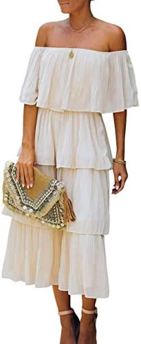 WHO IN SHOP Women s Casual Off The Shoulder Tiered Pleated Summer Loose Long Party Beach Maxi product image