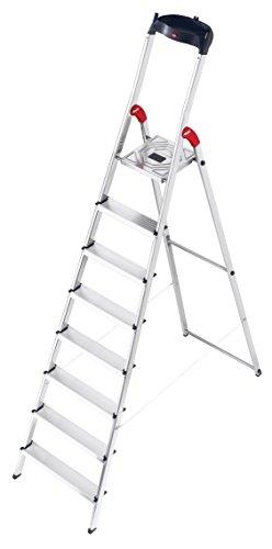 Preisvergleich Produktbild Hailo L60 StandardLine Alu-Sicherheits-Stehleiter,  8 Stufen,  Ablageschale,  belastbar bis 150 kg,  silber,  made in Germany,  8160-807