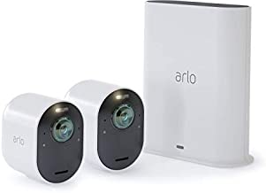 Arlo Ultra 2 Spotlight Camera - 2 Camera Security System - Wireless, 4K Video & HDR, Color Night Vision, 2 Way Audio, Wire-Free, 180º View, White - VMS5240-200NAS