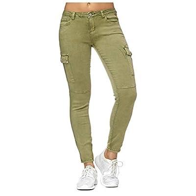 HOSDNew Fashion Women Jeans High Waist Skinny Pants Women Casual Jeans Women Cargo Pencil Long Pants Light Green by HOSD