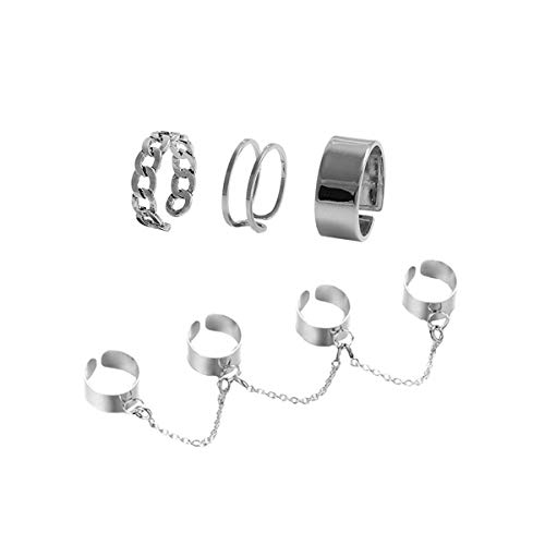 Holibanna 2PCS Punk Style Chain Ring Opening Finger Rings Jewellery Gift for Women Men Unisex