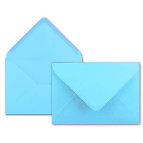 100x Brief-Umschläge in Hell-Blau - 80 g/m² - Kuverts in DIN B6 Format 12,5 x 17,5 cm - Nassklebung ohne Fenster - Marke FarbenFroh®